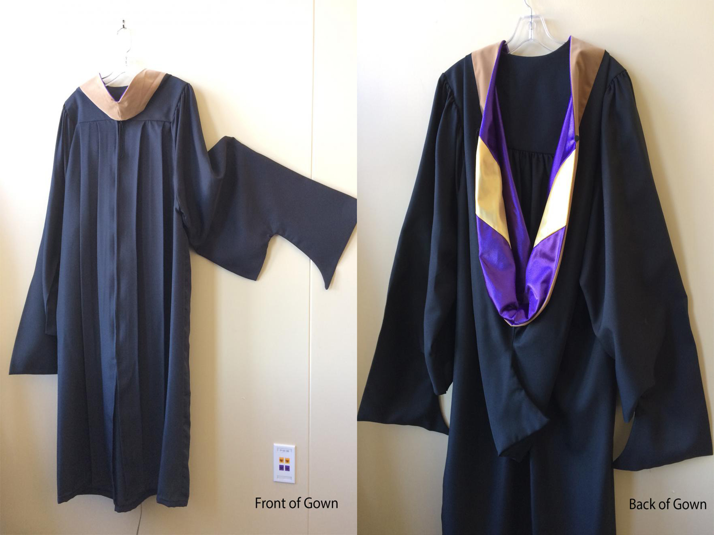 The front and back of the graduate regalia clothing
