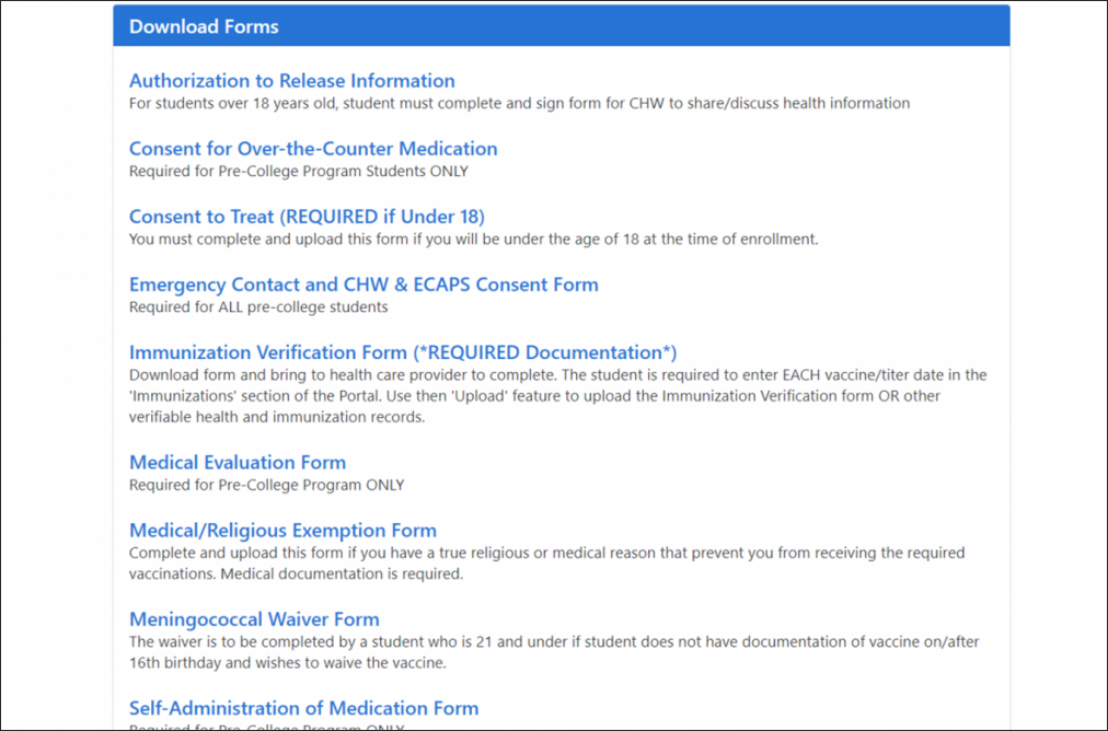 All downloadable medical forms shown in list format on Emerson's Health Portal