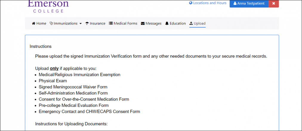 A list of immunization forms which must be signed and uploaded
