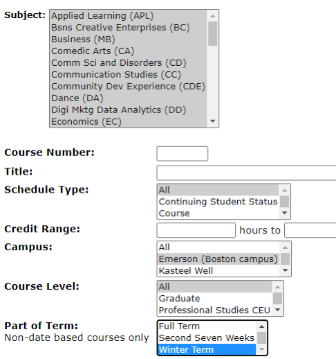 Screenshot of a class search for Winter Term