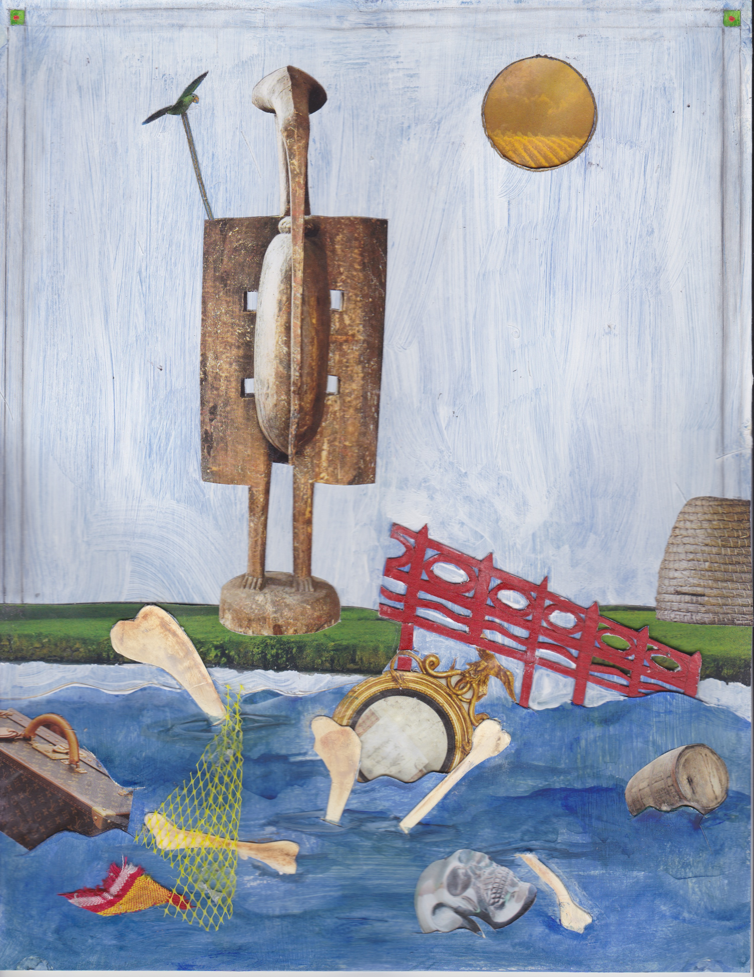 Painted collage showing human bones, suitcase, gilded mirror and other objects floating in a river with an African sculpture standing on the shore.