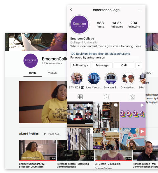Screenshots of Emerson College's YouTube and Instagram accounts