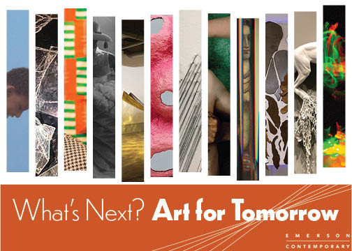 colorful postcard with art fragments for an art exhibition called Art for Tomorrow