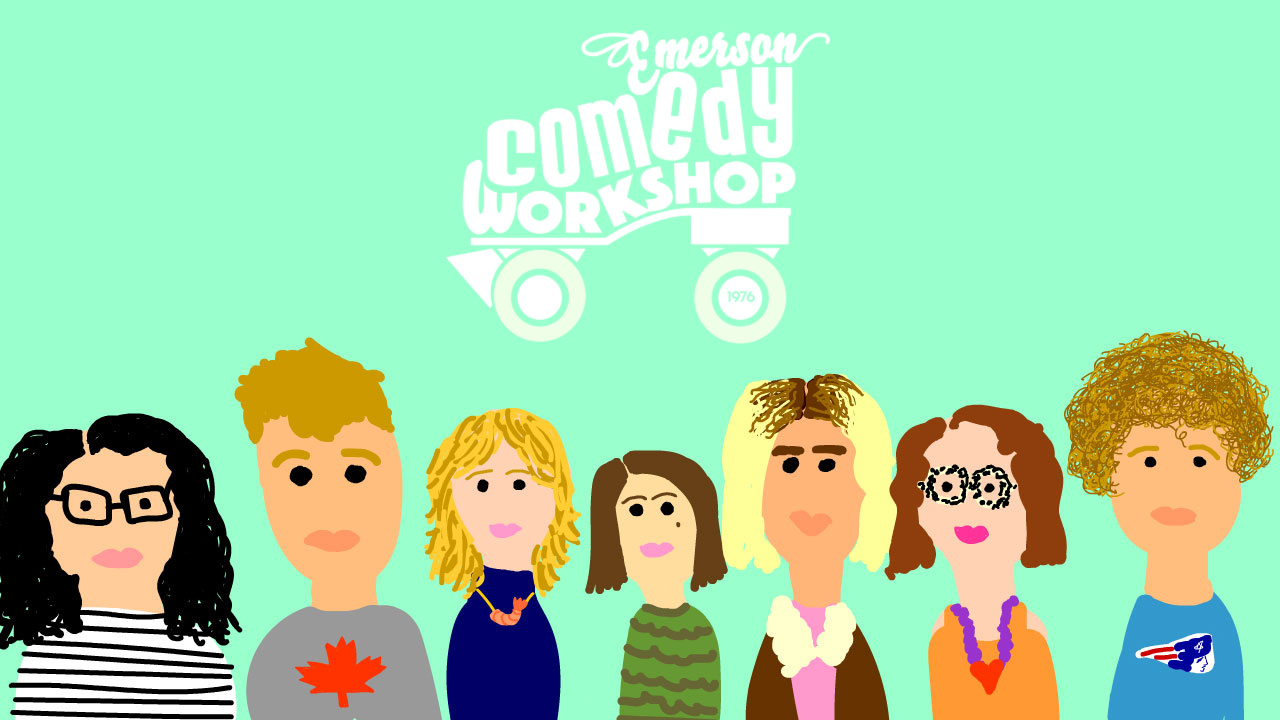 Emerson Comedy Workshop graphic depicting digitally drawn group members